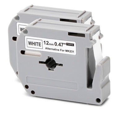 M-K231 Black on White Compatible for Brother P-touch Label Tapes MK231 2PK 12mm