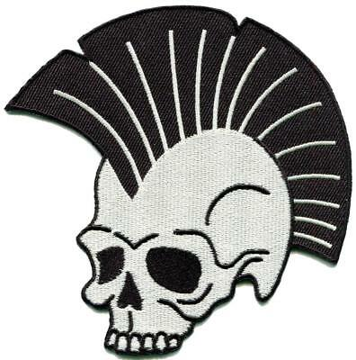Punk skull retro biker rock & roll embroidered applique iron-on patch S-1588