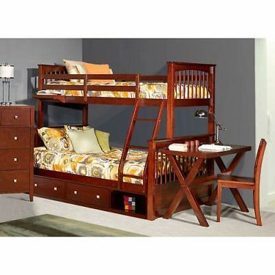 NE Kids Pulse Cherry Twin Over Full Bunk Bed with Storage - 31050NS