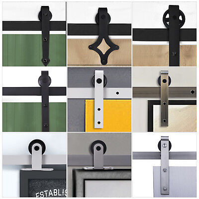6.6FT Steel Sliding Barn Door Hardware Kits Antique Country  Shape Track Roller