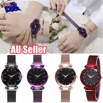 Elegant Women Ladies Crystal Starry Sky Watch Magnetic Strap Watches Gift New ON