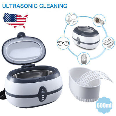 600ml Ultrasonic Jewelry Cleaner Machine Watch Glasses Cleaning Polisher Timer