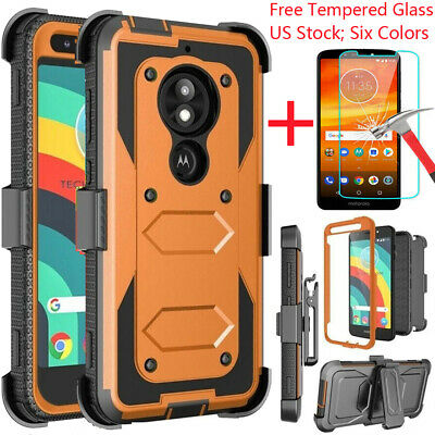 For Motorola Moto E6 E5 Z4 G7 Play Power Plus Armor Shockproof Clip Holster Case