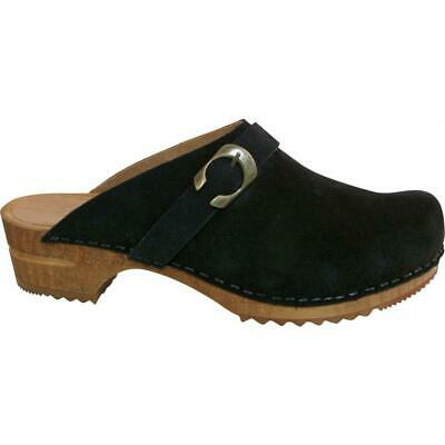 Sanita Hedi Open Clog Damen Clogs Veloursleder Black Schwarz