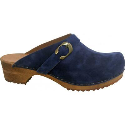 Sanita Hedi Open Clog Damen Clogs Veloursleder Navy Blau