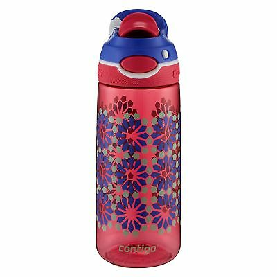 Contigo AUTOSPOUT Chug 20oz Kids' Plastic Water Bottle, Pink Flower, BPA-Free