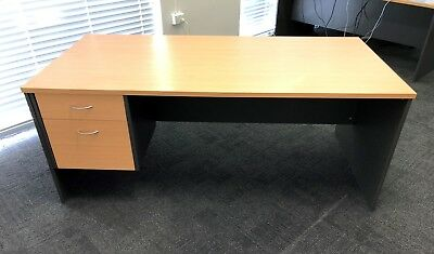 Office Desk - Beech & Ironstone - VGC -1800x900x725 - includes fixed drawers