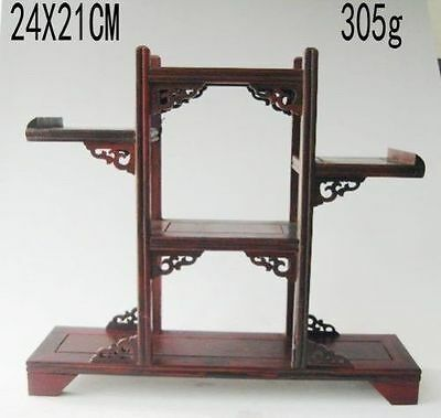 Chinese suanzhi wood carved put small curio stand/shelf or display