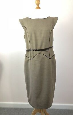 Next Tailored Beige / Brown Belted Shift Dress Size 16 *BNWT*