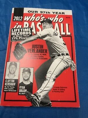 """2012 Who's Who In Baseball Book Justin Verlander Front Cover """"Sale"""""""