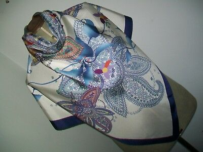 Large & Stunning ! Top Quality Classic Paisley Design Vintage Silk Scarf