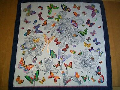 Butterflies ! Large & Stunning Butterfly Design Vintage Silk Scarf