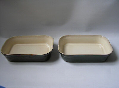 2 x small  DENBY Classic rectangular serving / oven dishes green & brown