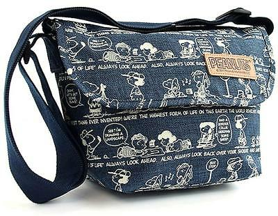 Snoopy Peanuts Shoulder bag  Indigo denim Woman style carry on Type From Japan