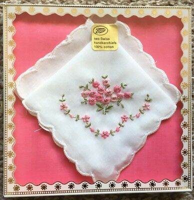 2 Vintage Boxed Swiss Handkerchiefs White Embroidered Pink Flowers Boots