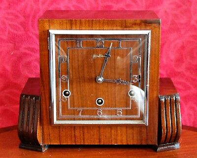 Vintage Art Deco Bentima Perivale Movement Mantel Clock with Westminster Chimes