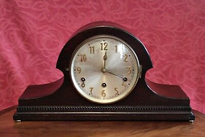 Vintage Art Deco German DRGM 8-Day Mantel Clock with Westminster Chimes