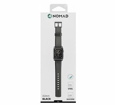 Nomad Silicone Watch Strap for Apple Watch 42mm - Black with Black Lugs - UD