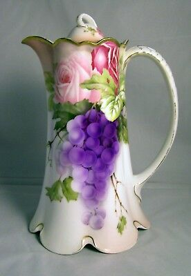 Vintage Rosenthal Porcelain Hand Painted ROSES & GRAPES Chocolate Pot