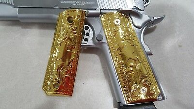 FIT 1911 GRIPS Colt Kimber GRIPS Full Size Government Gold Plated With  Screws