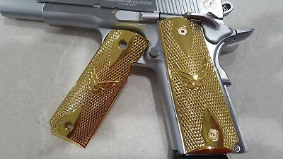 FITS 1911 COLT Grips Full Size Pistol Grips Initials Gold Plated