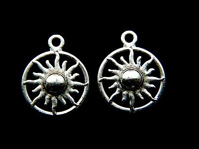 20 or 50 Tibetan Antique Silver 29mm Carved Sun Charm Pendant 10 50321 1