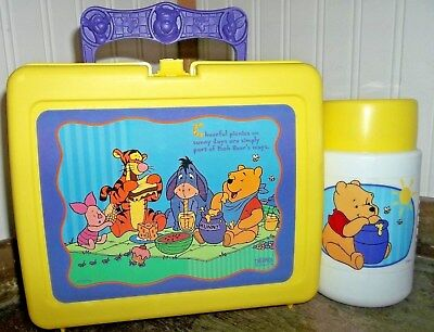 1990's Winnie The Pooh Having a Picnic Plastic Lunch Box & Thermos Lunchbox Nice