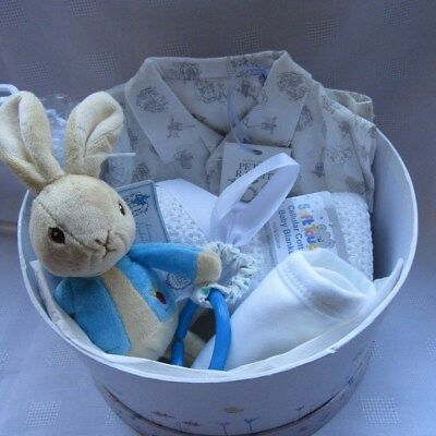 "New baby gifts - Deluxe Peter Rabbit round gift box 9"" filled with  baby items"