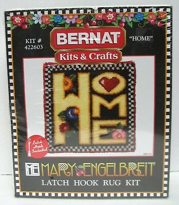 Mary Engelbreit Latch Hook Rug Kit 422603 Home Hearts Flowers New Sealed Bernat