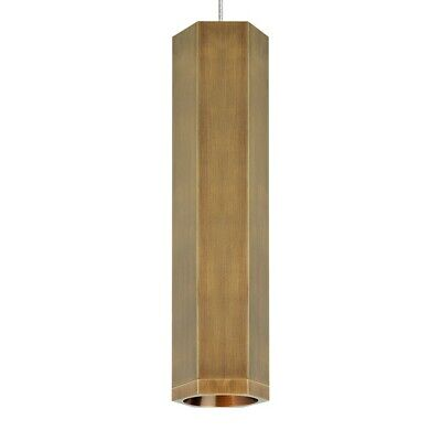 Tech Lighting MO2 Blok Small Pendant, Aged Brass/Aged Brass - 700MO2BLKSRR