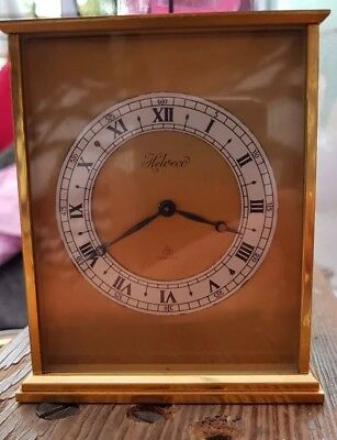 Vintage Helveco Swiss Made Solid Brass 8-Day Carriage Mantle  Clock: Excellent