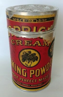 Vintage Antique Dr. Price's Baking Powder Paper Label Tin Container Red 8 oz 1/2