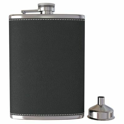 Pocket Hip Flask 8 Oz with Funnel Stainless Steel with Black Leather Wrapp U2R9