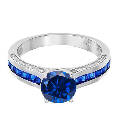 Brilliant Blue Solitaire and Blue Sapphire Princess CZ Sterling Silver Ring
