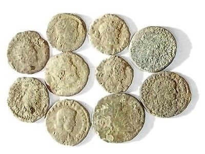 10 ANCIENT ROMAN COINS AE3 - Uncleaned and As Found! - Unique Lot 25918