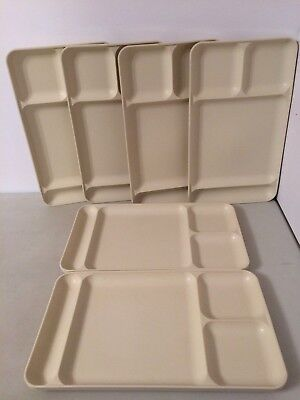 Lot of 6 Vintage Tupperware Dinner Trays Almond Beige Colors 1535-5 and 1535-6