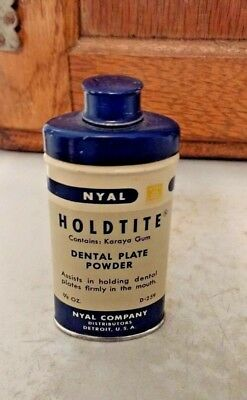 Vintage Holdtite Dental Plate Tooth Powder  Collectible Tin 7/8 oz. Nyal Company