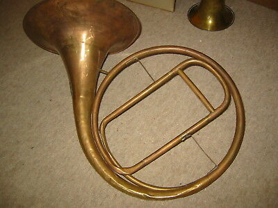 """Extremely old natural French horn w. slide needs repair """"Stowasser"""" parforcehorn"""