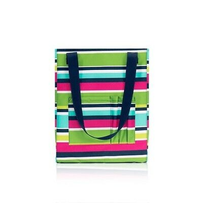 Thirty One Zip Top Tall Organizing Utility Tote Shoulder Bag Preppy