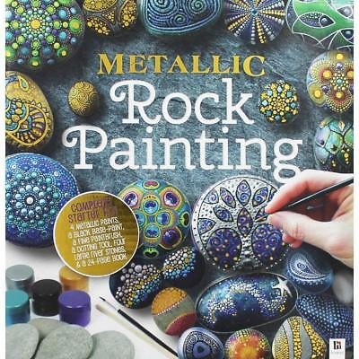 Metallic Rock Painting Kit - Paints, Brush, Dotting Tool and 4 Stones Included