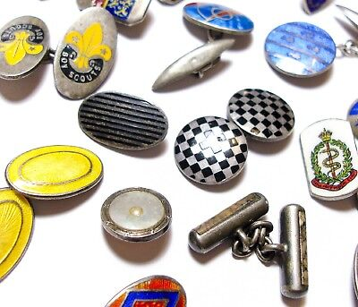 Stunning Large Collection Of Vintage & Antique Single Silver Cufflinks Lot (A2)