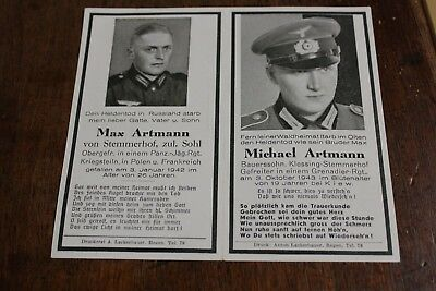 Rare Woman WWII era Germany German Nazi Death Funeral Card Two Brothers Panzer