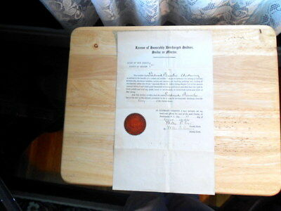 License Of Honorably Discharged Soldier, Sailor Or Marine State New Jersey 1921