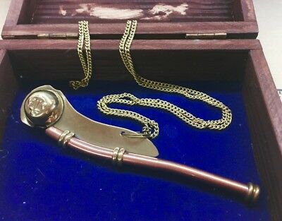 Solid Brass Copper Boatswain Whistle with Box Bosun Call Pipe Nautical Maritime