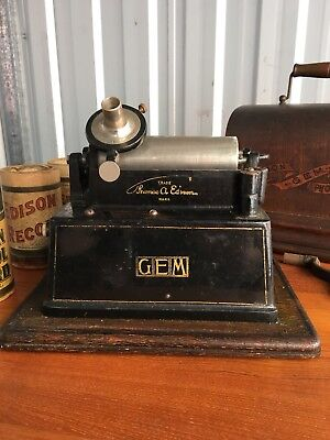 Edison Gem Phonograph With Records