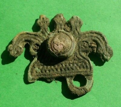 Authentic Ancient Celtic Roman Bronze Mount With Snake Heads And Glass Paste