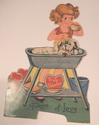 Vintage Germany Mechanical Die-Cut Valentines Card - Girl Giving Dog A Bath