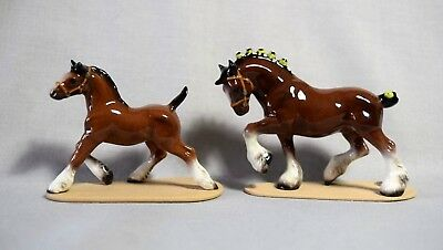 Hagen-Renaker miniature Clydesdale Stallion and Foal, horse figurines