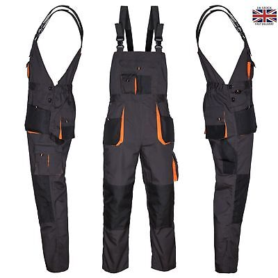 Bib and Brace Overalls Heavy Duty Work Trousers Dungaress Knee Pad Pockets UK