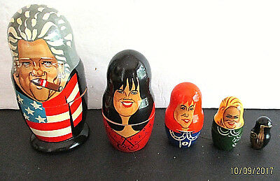Bill Clinton & His Women, 5-Piece Hand-painted Wooden Stacking Doll